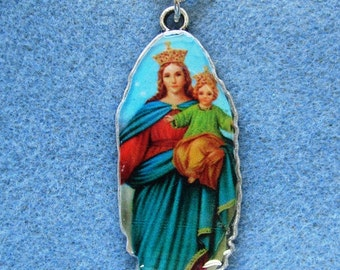 Our Lady Help of Christians Virgin Mary Handmade Catholic Resin Necklace VM27