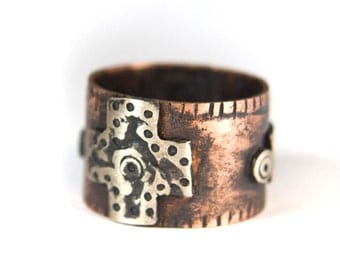 Hammered Copper Ring - Rustic Copper Ring - Hand Stamped Ring - Mixed Metal Jewelry - Size 8