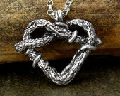 Small Gnarly Vine Heart Pendant Necklace on Chain - Botanical, Love, Promise, Forever, Friendship, Commitment - Nature Gift