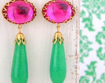 Vintage Swarovski Fuschia Pink Emerald Green Jade Drop Earrings