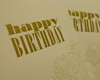 Peony Letterpress Birthday Cards - Set of 4