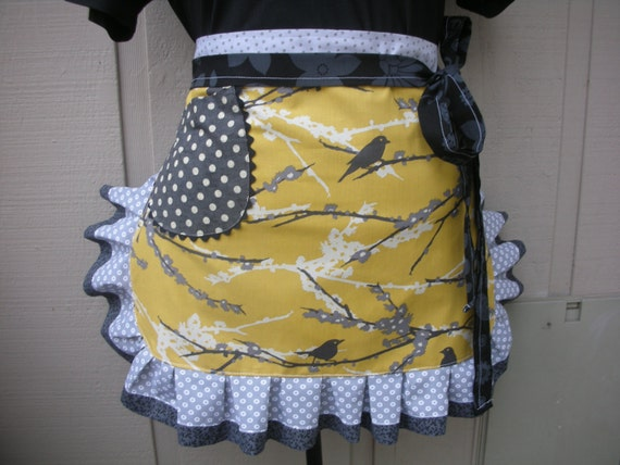 Womens Aprons - Grey Aprons - Etsy Aprons - Gold and Grey Aprons - Aviary Sparrows Apron - Annies Attic Aprons - Bird Aprons - Hostes Gifts