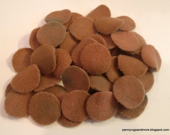 Grubby 50 -1 inch Wool Penny Rug Circles