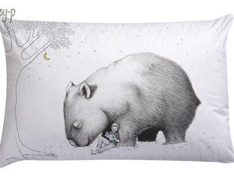 Giant Wombat Pillowcase with Book Boy, facing Left. Australian animal gift, present, white cotton sham, with original art by flossy-p