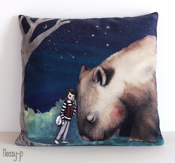 Giant Wombat and Banjo Boy Cushion Cover.  Decorative Pillow. Velvet, pillow, wombat, boy, banjo, animal, art, illustration, by flossy-p