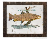 Brown Trout Paper Collage Art