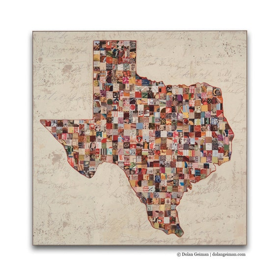 My Texas Map State Silhouette Wood Print