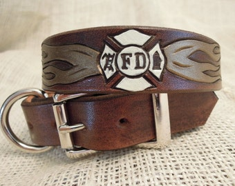 Firefighter Dog Collar Bison Brown with Bronze Flames and Cream Maltese Cross
