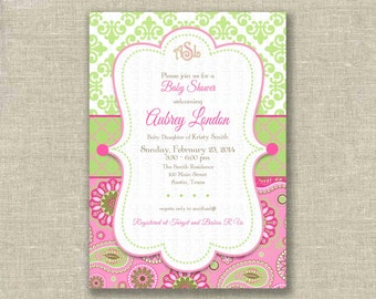Preppy Baby Shower Girl Invitation Invite Paisley Damask Green Pink Monogram- Printable DIGITAL - by girls at play girlsatplay