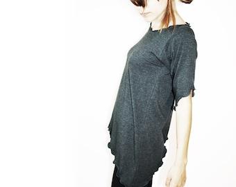 SCOOP HEM TUNIC women tunic top, women shirt, blouse, grey blouse, grey shirt, grey top, short sleeve shirt, maternity shirt, yoga top