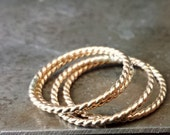 Twist Gold Filled Ring - A Single Narrow Stackable Band Handmade by Queens Metal