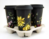 Black Ceramic Travel Mug Double Walled Porcelain with Lid - Custom Botanical Design