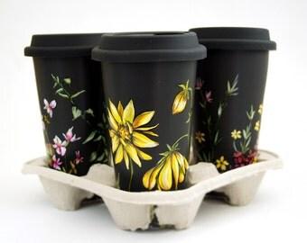 Custom Botanical Painting on Black Ceramic Eco Friendly Travel Mug