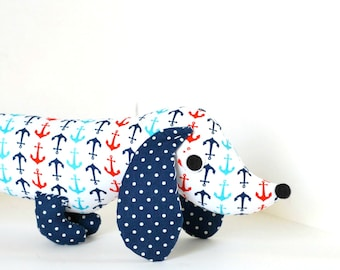 Nautical Nursery Decor Toy Wiener Dog Stuffed Animal Plush Dachshund PERRY