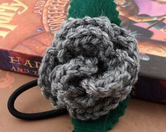 Crocheted Rose Ponytail Holder or Bracelet - Gray (SWG-HP-HWSL01)