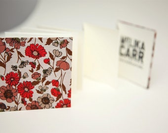 Earth tone Flower Pattern, Small Accordion Book, Concertina Journal