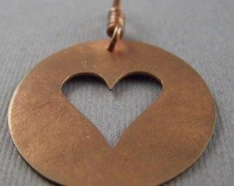 Copper Heart Cutout in a Circle  Pendant