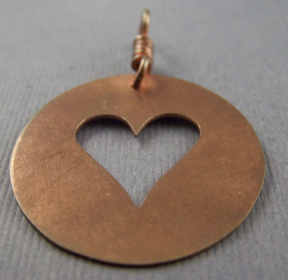 Copper Heart Cutout in a Circle  Pendant