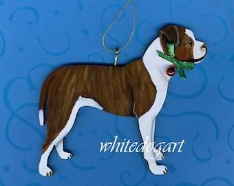 Custom Handpainted Uncropped Terrier Christmas Ornament