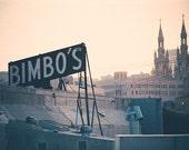 San Francisco Photography - Bimbos Signage - Saints Peter and Paul Church - Rooftops - California, Travel, Sunrise