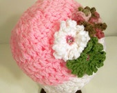 Teen or Women's Pink 3 Flower Hat -Crochet--Ready to Ship--#14