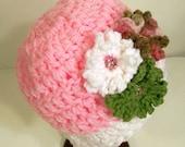 Teen or Women's Pink 3 Flower Hat -Crochet--Ready to Ship--#14