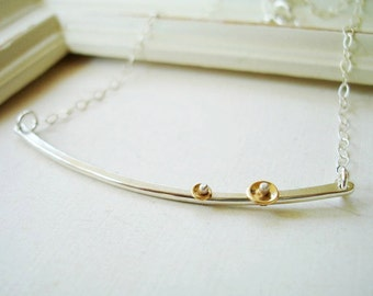 Simple Double Disc Bar Necklace FREE SHIPPING- Recycled Silver and 14k gold filled riveted discs