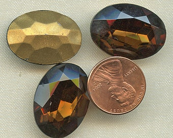 Large Oval SMOKE TOPAZ RHINESTONES Three (3) Vintage Glass 18mm x 25mm Gold Foil Back jc 1825stov 1940