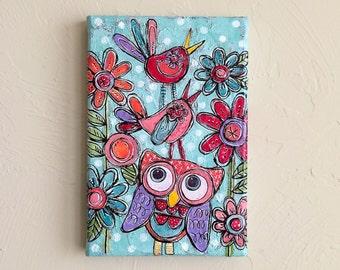 SWEET FRIENDS Bright Little Mixed Media Folk Art Floral Garden Painting