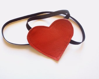 Molotov Cocktease Inspired RED Leather Eye Patch Costume Piece Valentines by Darkwear clothing