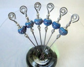 Turquoise and Zebra Glass Bead Stainless Steel Cocktail Appetizer Picks Set of 6