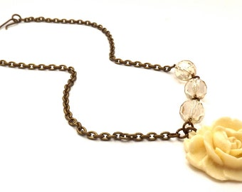 Vintage Inspired Brass Czech Crystal Asymmetrical Flower Necklace