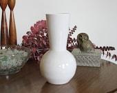 White Pottery Vase - SHOP SALE - Mid Century Inspired Modern White Ceramic Vase