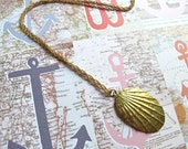 Seashell Necklace Brass Summer Vintage Ocean Simple Long Chain Shell Nature Beach Jewelry Gift Boxed
