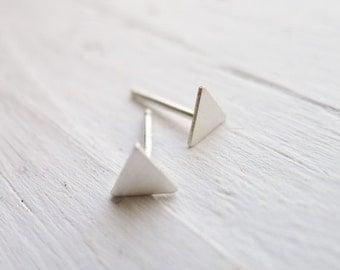 Silver Triangle Earring Tiny Stud Silver Geo Studs Geometric Earrings Gifts Under 25 Silver Earrrings Jewely Trends