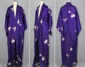 violet / vintage kimono / silk robe / summer / RIPE PLUM oriental kimono