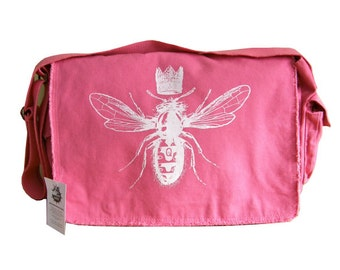 Queen Bee Messenger Bag--Screen Printed Cotton Canvas- Pink, Black or Brown