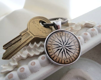 Map Compass Key Ring