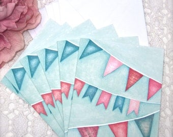 SUMMER BUNTING Notecards/Set of Six