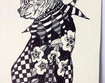 Calico Cat Drawing Illustration Art  Original black and white  Mary Vogel Lozinak pink flamingo Pinkflamingo61