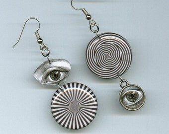 Optical illusion Earrings black and white eye illustration asymmetrical mismatched earring design