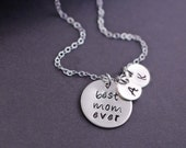 Mother's Day Gift, Best Mom Ever Necklace, Personalized Silver Mother's Charm Necklace, Mom Jewelry