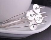 Personalized Cancer Symbol Zodiac Jewelry, Personalized Zodiac Bangle Bracelet, June July Birthday Gift