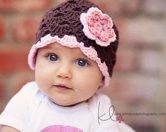 Baby Girl Beanie, Crochet Baby Hat, Baby Girl Hat, Newborn Hat, Newborn Beanie, Brown Pink, Newborn Prop, Baby Newborn Hat, Newborn Girl Hat