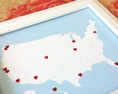 DIY Travel Map Kit With Red Heart Stickers, USA Road Trip Map, Traveler Gift, United States Travel Map, Light Blue 8x10 or 11x14
