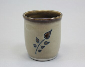 Branch Cup  - Hand Thrown, Carved,  and Painted Stoneware