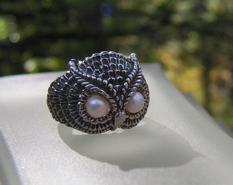 Sterling Silver Owl Ring With Pearl Eyes