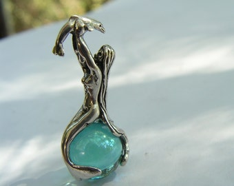 Sterling Silver Mermaid And Dolphin Pendant With Aqua Aura
