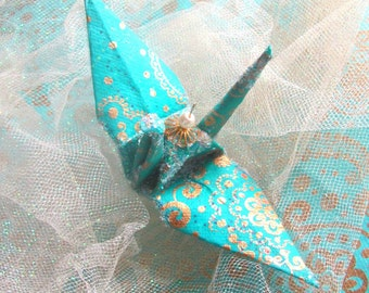 Bollywood Aquamarine Peace Crane Bird, Wedding Cake Topper, Party Favor Origami Ornament  Paper Anniversary Blue Turquoise Gold Paisley