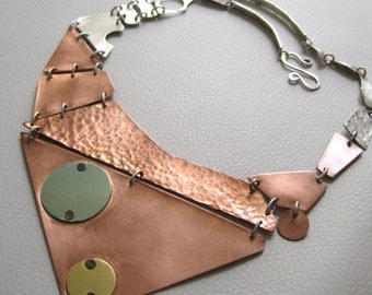 Armadillo, Sterling Silver, Copper, Brass Necklace